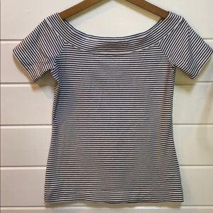 J Crew Off the Shoulder Striped Tee Small EUC